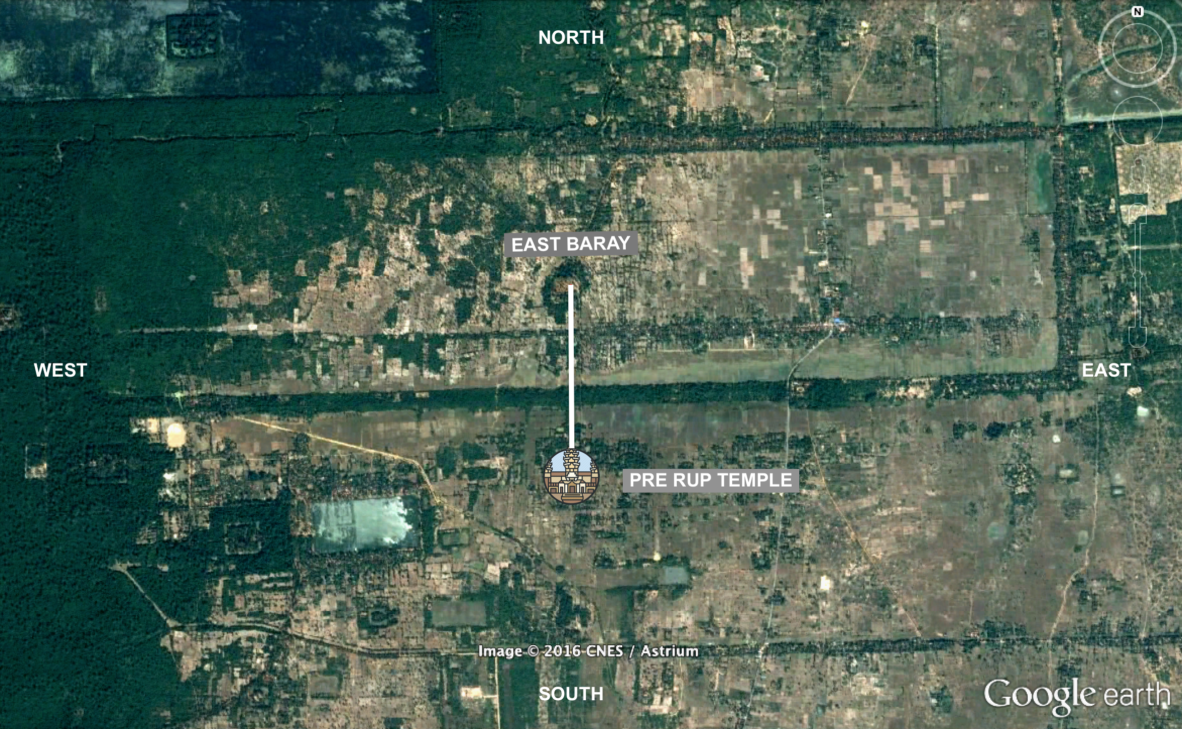 Rajendravarman II built Pre Rue temple on precisely the same meridian as the central axis of the East Baray.