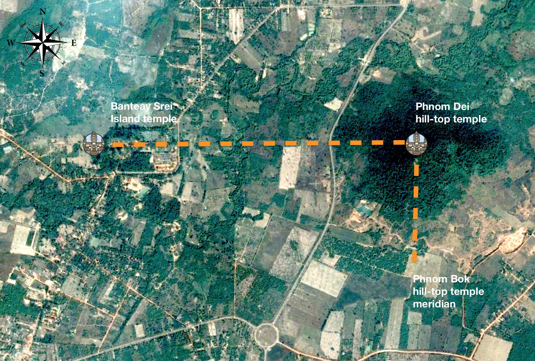 Figure 13: Banteay Srei Temple alignment with Phnom Dei hill-top temple.