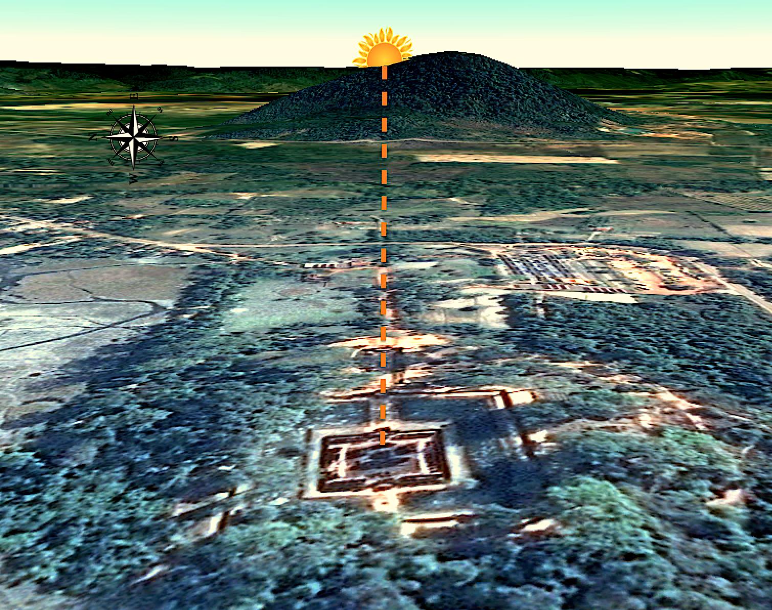 Figure 16: Banteay Srei equinox alignment with Phnom Dei hill.