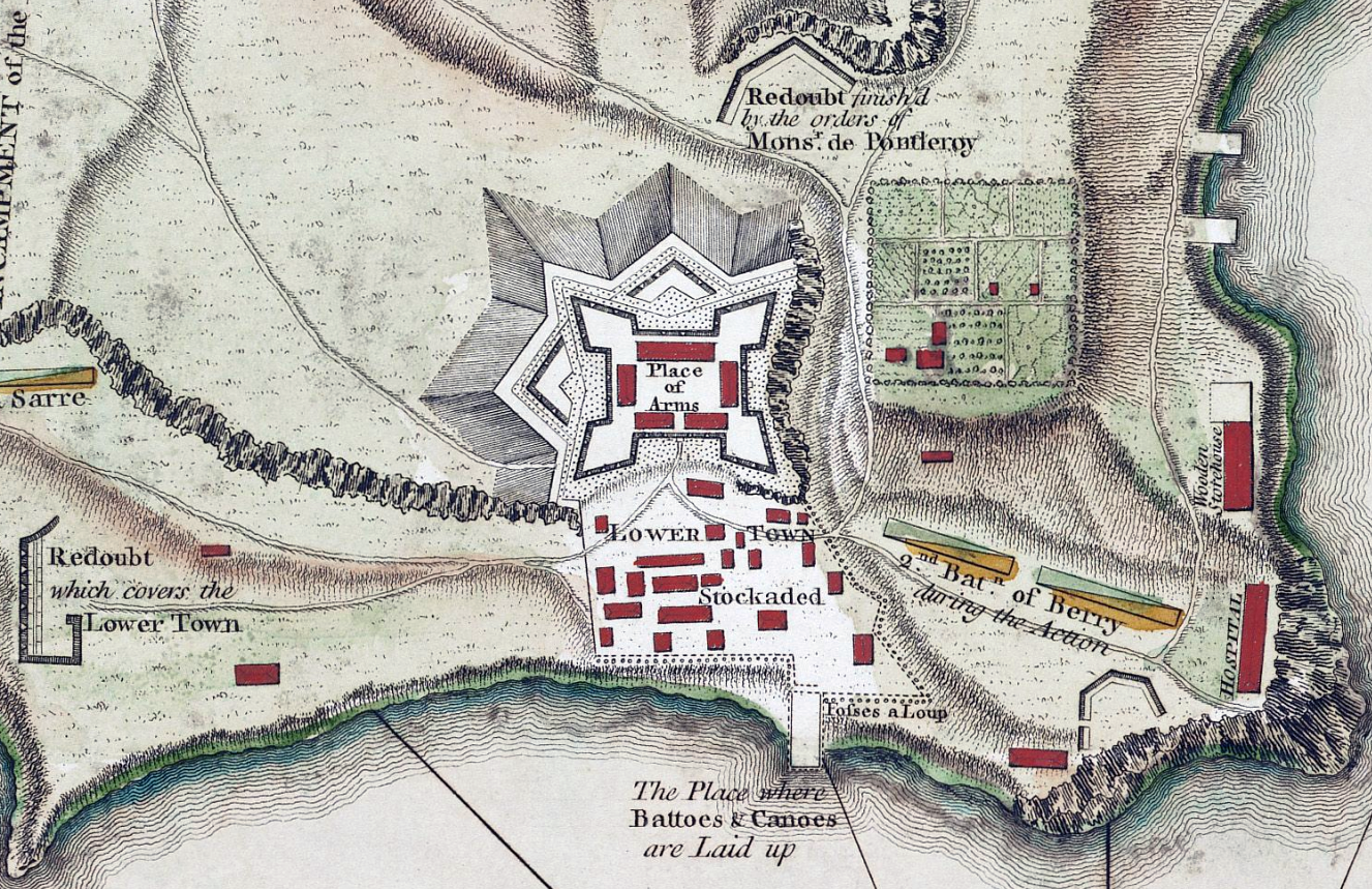 Detail of a 1758 map showing the fort's layout.