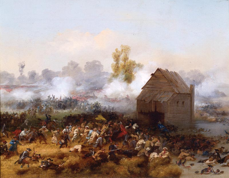 Lord Stirling leading an attack against the British in order to enable the retreat of other troops at the Battle of Long Island, 1776.