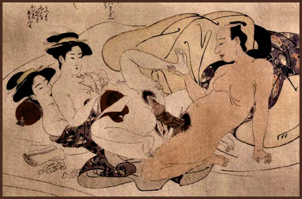 The Yin Gates and the Yang Spear depicted in a  shunga  print.
