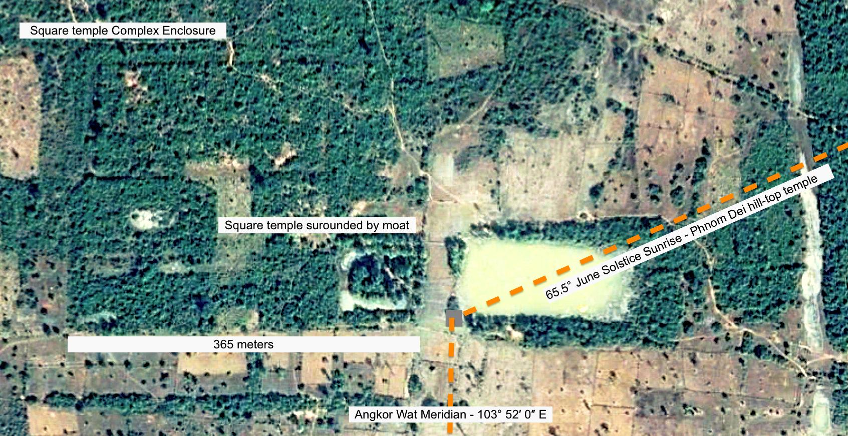 Figure 9: June solstice alignment to Phnom Dei Hill and temple.