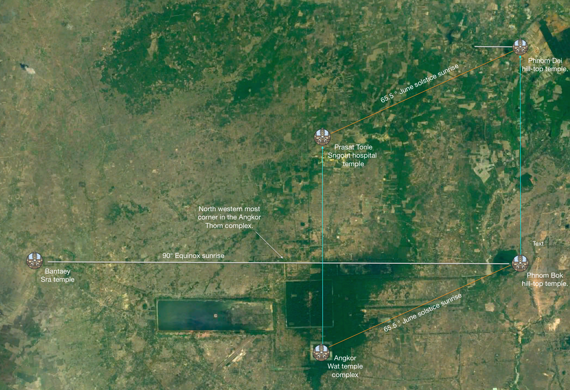 Figure 17. Bantaey Sra temple is located on the east-west equinox alignment with Phnom Bok Hill.