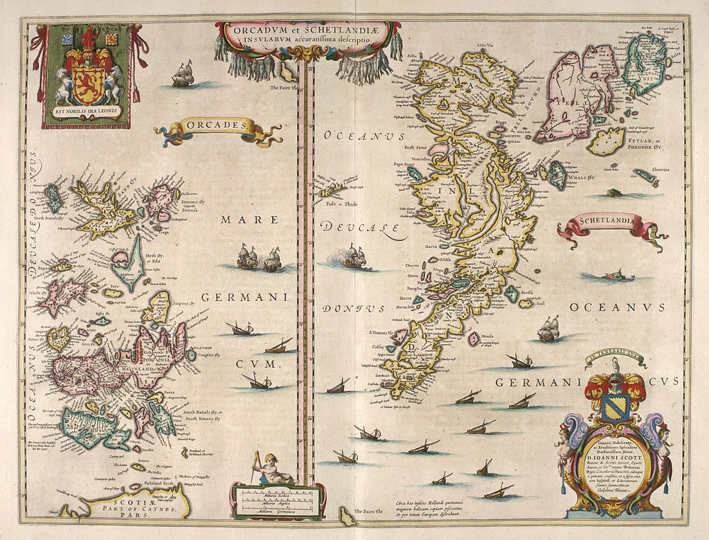 FIG #01. The first Viking raids on England and France were launched from Orkney.    Blaeu's     1654 map of Orkney and Shetland.