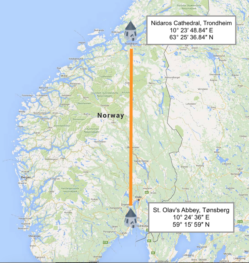 FIG #07: Nidaros round church in Trondheim and St.Olavs Round Church in Tønsberg share a north to south meridian.
