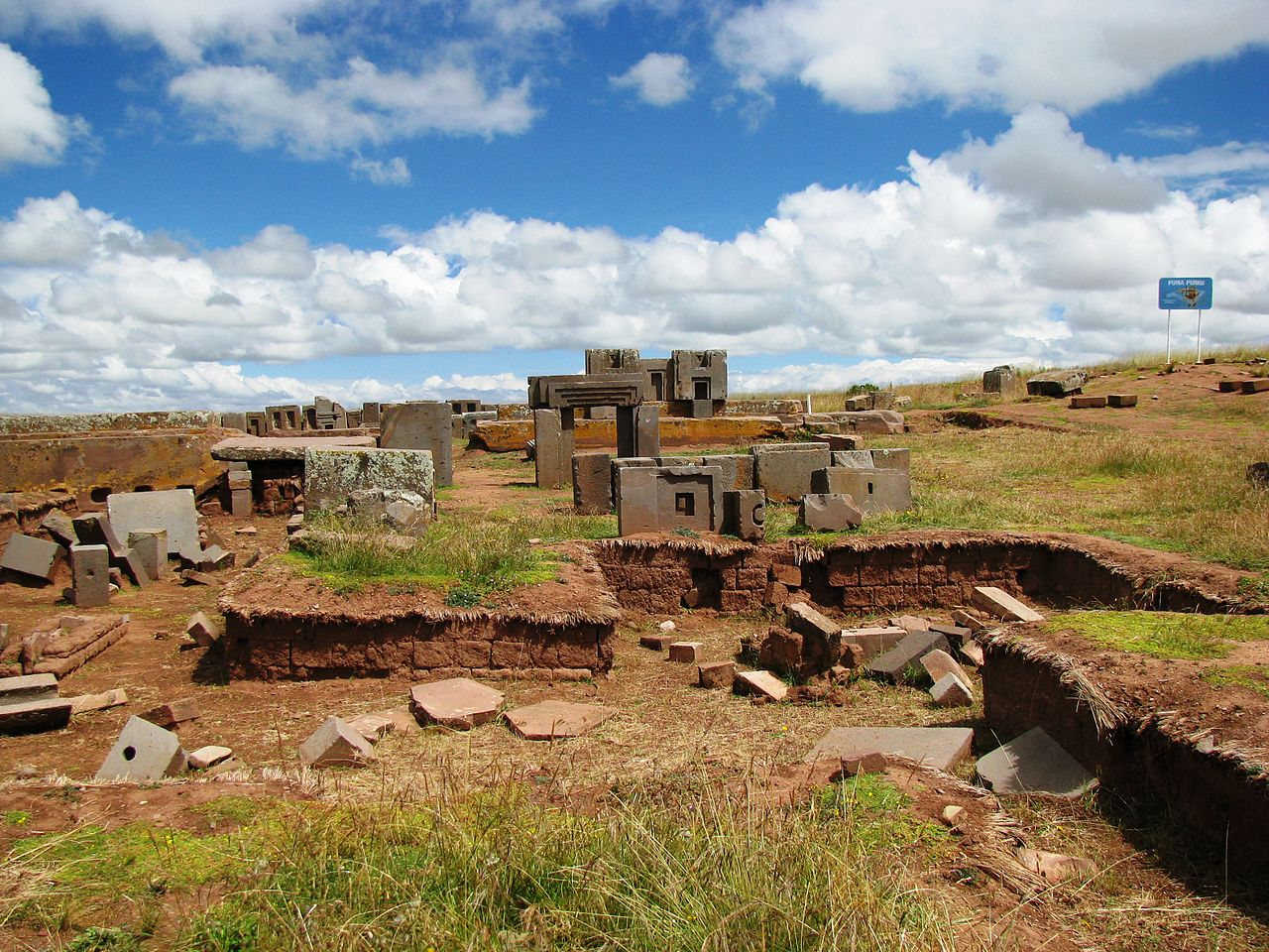 Figure 9:.The builders of Pumapunku created massive finely-cut polished blocks, the largest of witch is estimated to weigh about 131 metric tons.  Pubic License .