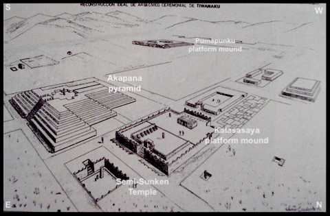 Figure 3. This reconstruction of the ceremonial civic Area at Tiwanaku was created by Architect and Archaeologist Javier Escalante Moscoso and presented in his excellent 1997 book:  Arquitectura Prehispánica en los Andes bolivianos, .