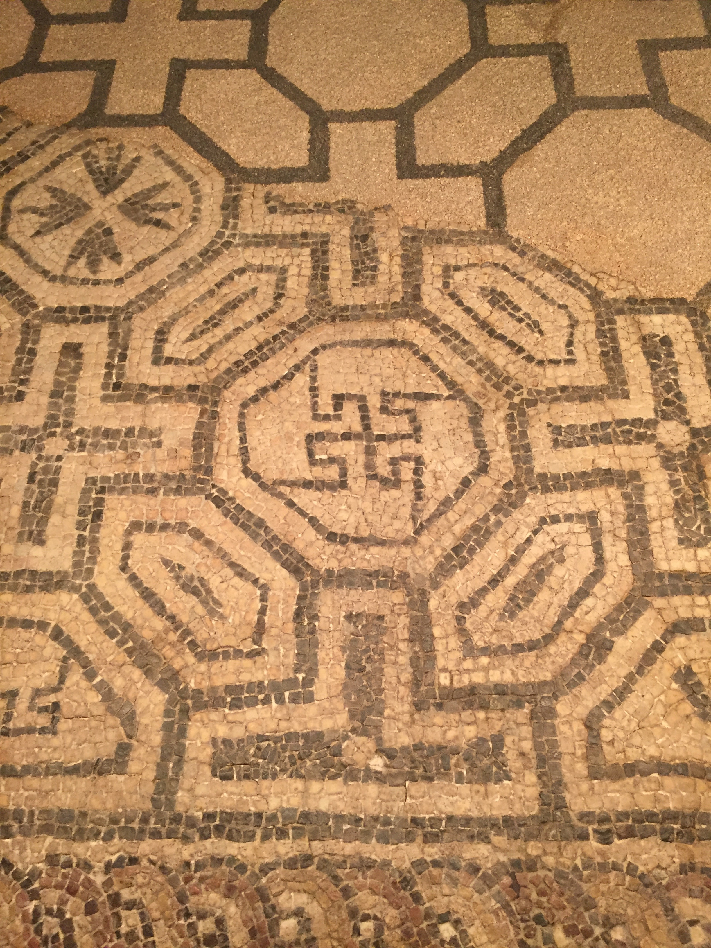 #01. The swastika is an ancient symbol, thought by many ancient cultures to represent the sun. This design is found on a Roman mosaic at Barcino ( Barcelona)