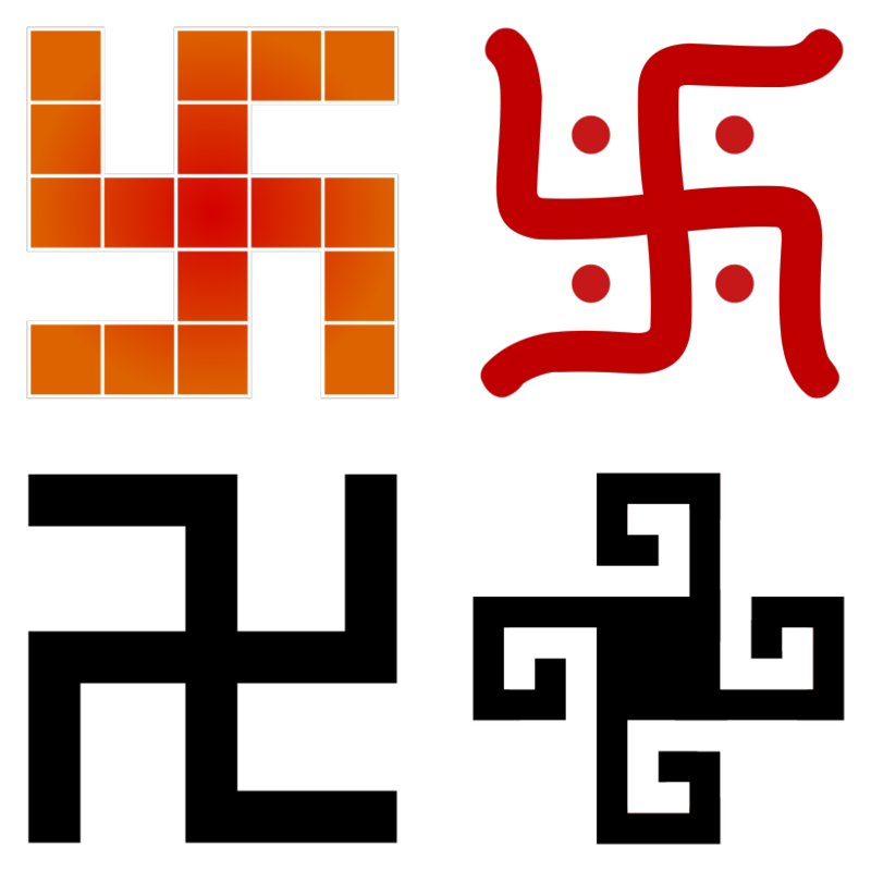 #02. The  swastika  symbol was adopted by many ancient cultures and each associated it with different meanings and drew it in different styles. It was most often used as a solar symbol and represented the sun, light and good fortune and for this reason it was displayed above doorways and entrances to special, often sacred, spaces.