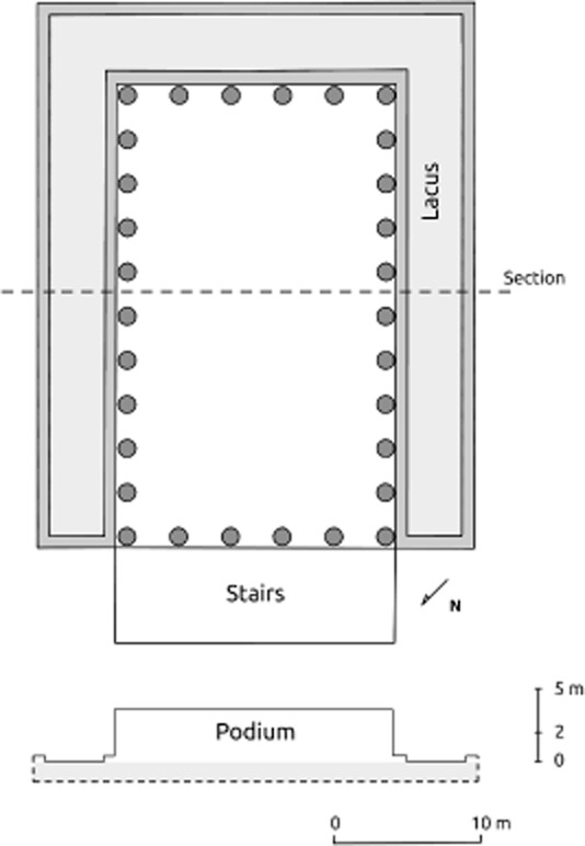 Hypothetical reconstruction of the plan and section of the temple following the B hypothesis and the archaeological data provided by the excavations in Paradís Street. Drawing by  H.A. Orengo .