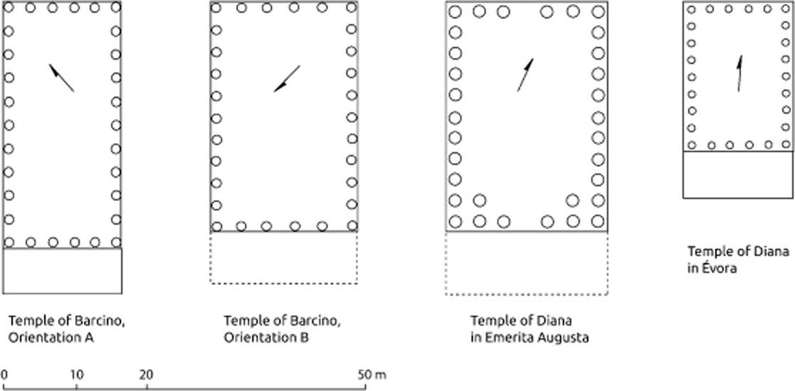 #0 Typological comparison between the different hexastyle peripteral temples of the Iberian Peninsula. Drawing by H.A. Orengo, adapted from Hauschild  1991 .