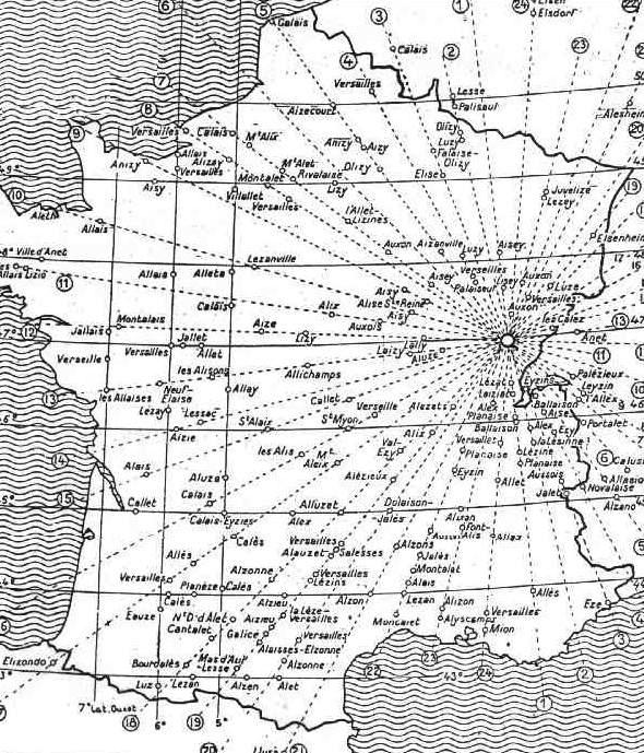 #08. Alaise, situated in the Jura mountains in the Doubs department in the Bourgogne-Franche-Comté region in eastern France is at the very centre of 24 alignments. From Xavier Guichard's 1936 book  Eleusis Alesia:  Enquête sur les origines de la civilisation européenne, p. 326. Out Of Copyright.
