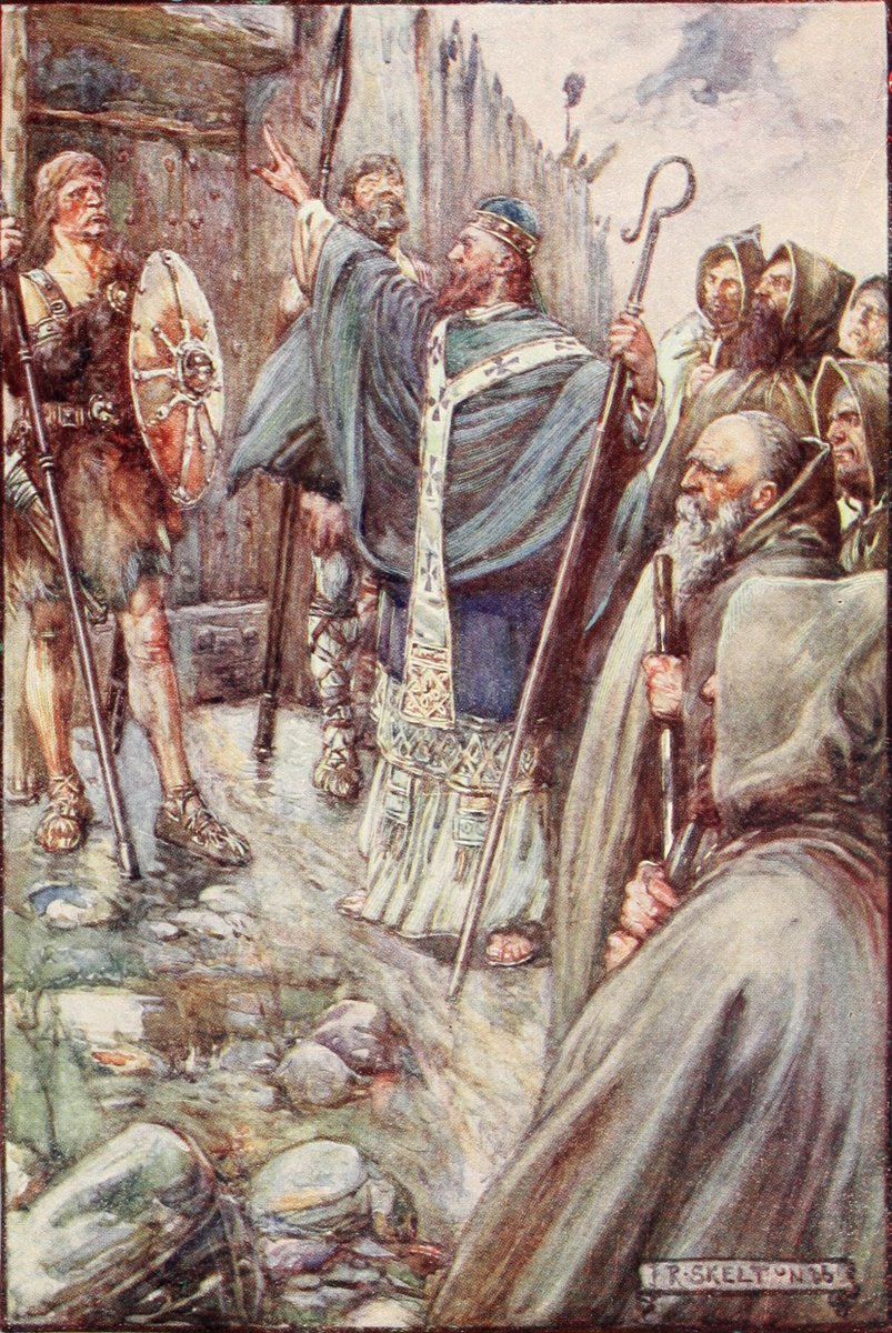 Columba banging on the gate of Bridei, King of Fortriu. Illustration in  Scotland's Story by  J. R. Skelton (Joseph Ratcliffe Skelton; 1865 –1927).  CC ASA 3.0