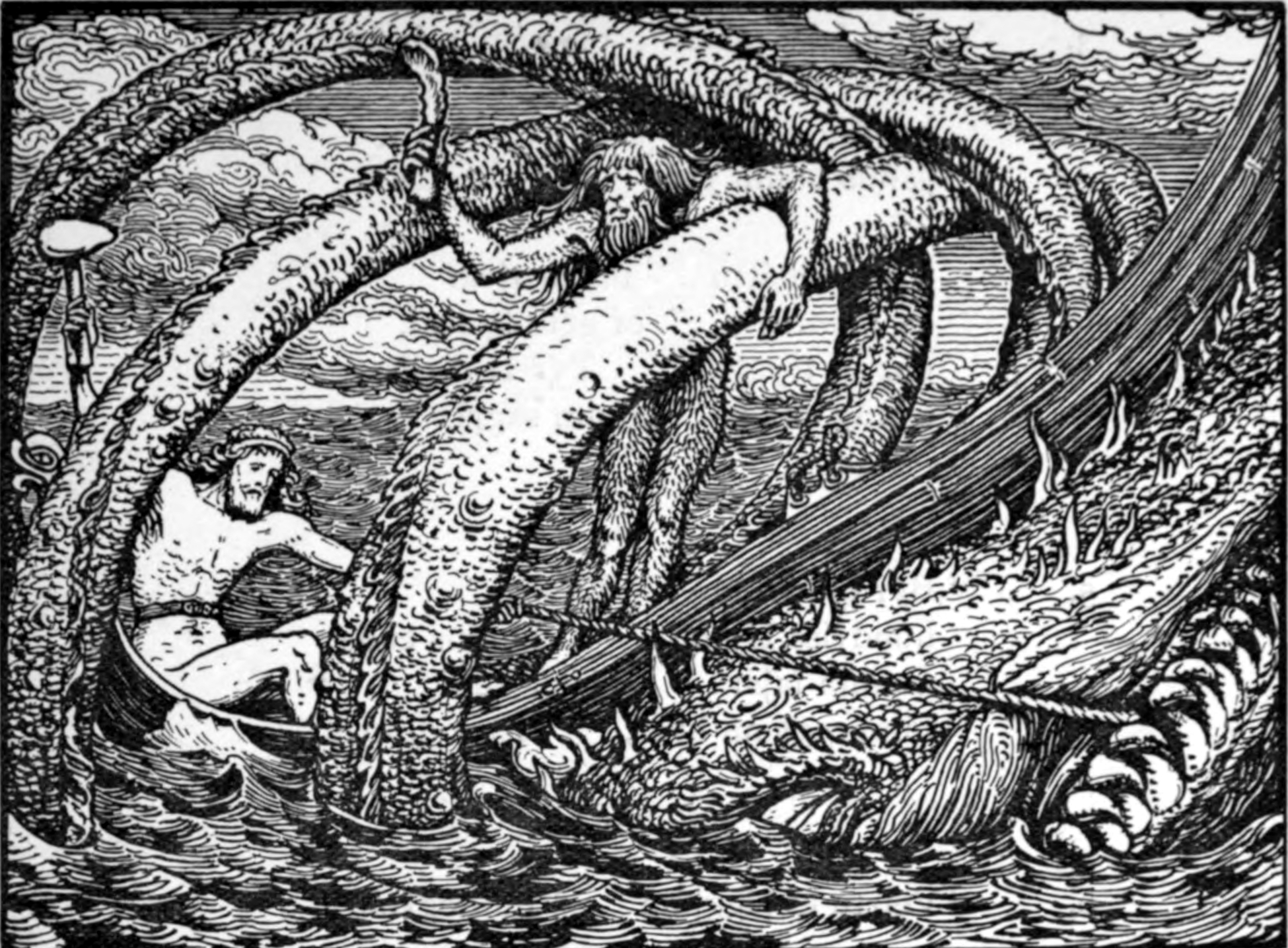 Thor's Fishing Trip  . W.G. Collingwood , 1908.  CC ASA 3.0 . In Norse mythology the Midgard Serpent encircled the world.