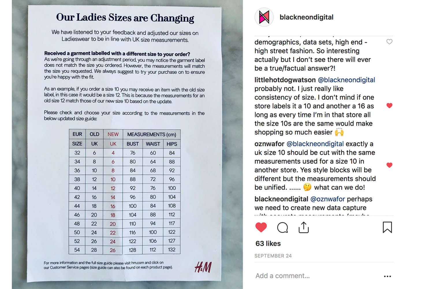 H&M size set changes in the UK