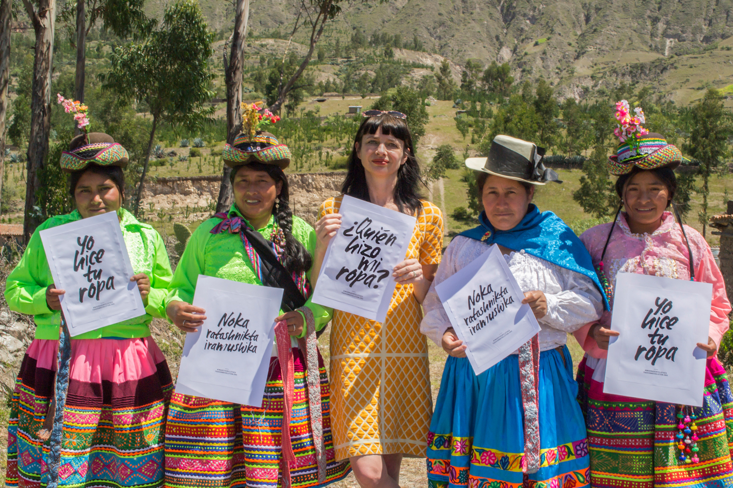 Carry Somers Co-founder, Fashion Revolution in Peru with embroiders by Miguel Lopez