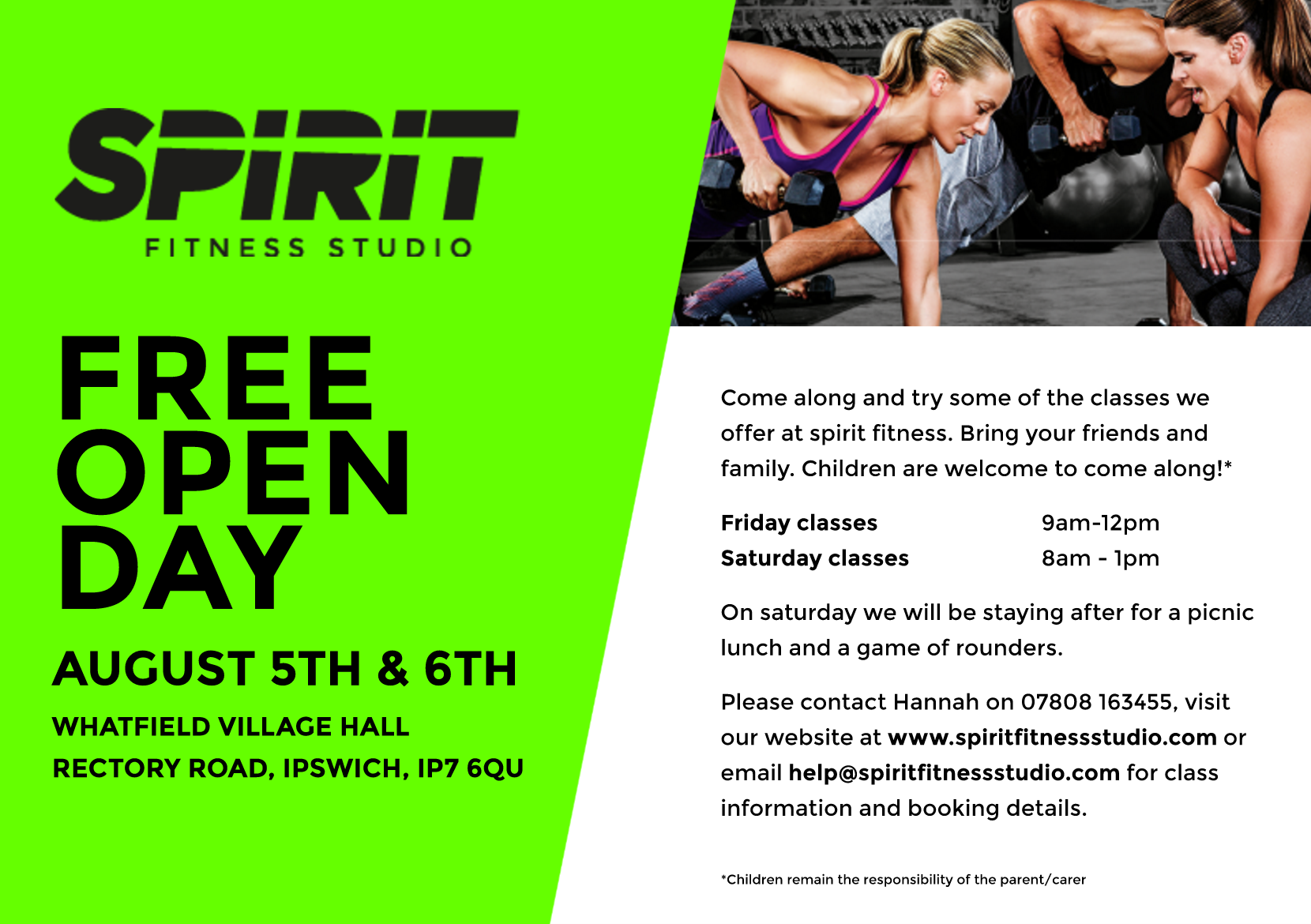 Come and join us for our August open day.  We will be showcasing the latest music and moves for all the classes we teach at Spirit Fitness Studio.  Please check out the Class Timetable below and get in touch to reserve your place!  Bring a picnic lunch and stay after classes on Saturday for a game of rounders!   FRIDAY 5TH AUGUST       0900-0930  INSANITY 0930-1000   P90X 1000-1030   PIYO 1030-1100   PUMP 1100-1130   CORE CONTROL 1130-1200   BALANCE 1200-1300   MANDUKYA YOGA   SATURDAY 6TH AUGUST  0800-0830   METAFIT 0830-0900   PUMP 0900-0930   CORE CONTROL 0930-1000   HIIT 1000-1030   KETTLERCISE 1030-1100   BALANCE 1100-1130   INSANITY 1130-1200   P90X