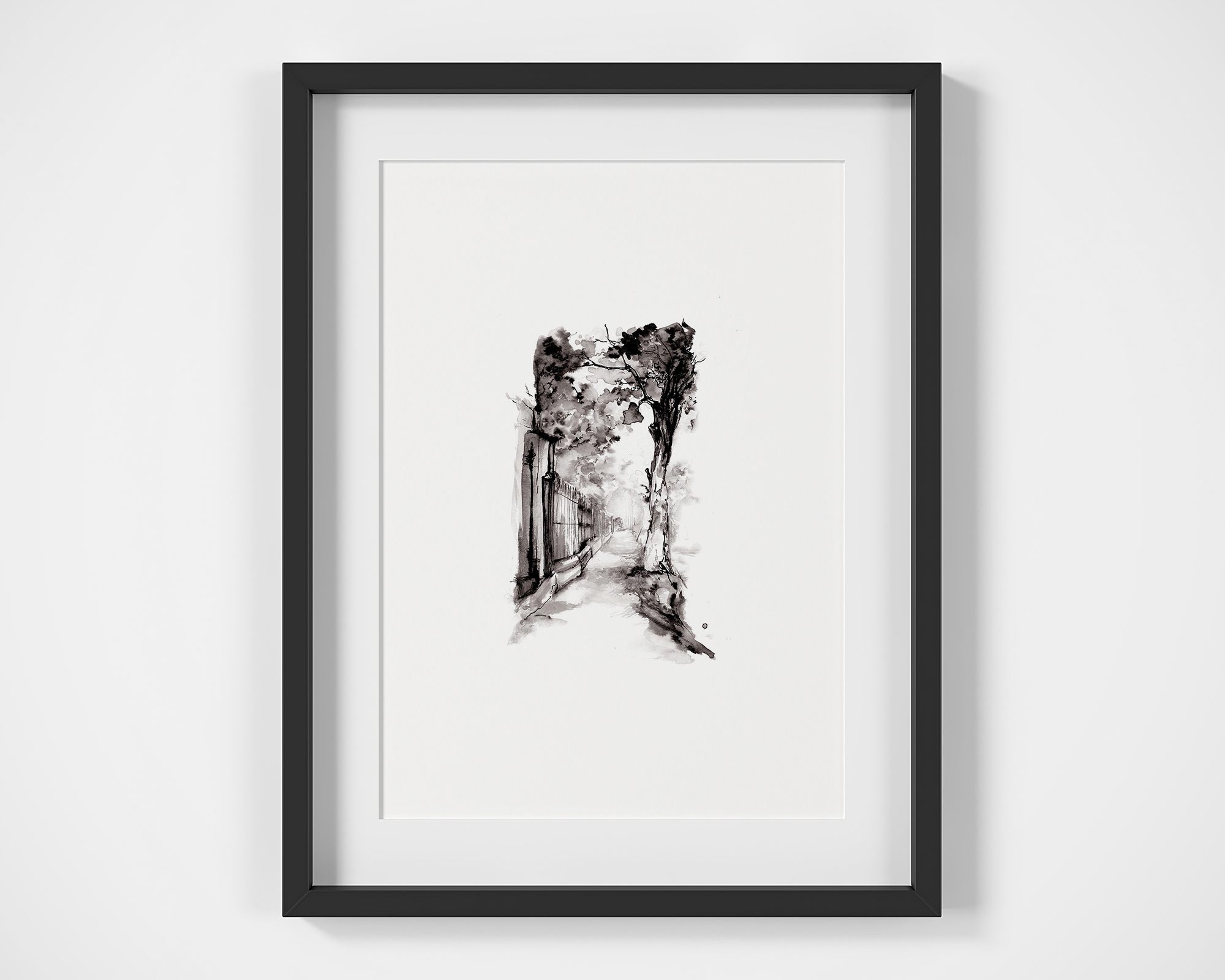 'Sidewalk'.  Fine Art Print by Artist, Dana Trijbetz.  Original Ink Painting made as a Giclée Print on 100% Cotton Paper.  Image 1 of 3.jpg