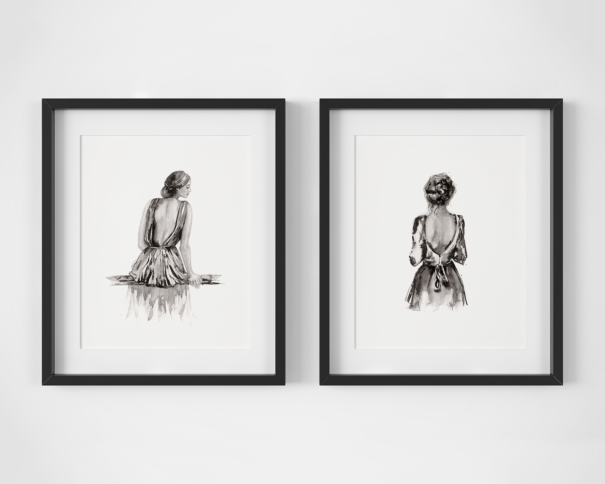 'Morning Light' and 'Breath'.  Fine Art Prints by Artist, Dana Trijbetz.  Original Ink Paintings made as Giclée Prints on 100% Cotton Paper.  Image 4 of 4.jpg