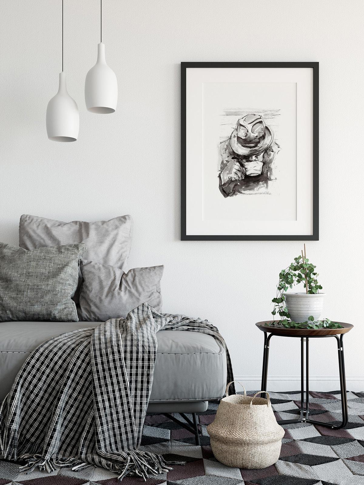 'Man with Tea'.  Fine Art Print by Artist, Dana Trijbetz.  Original Ink Painting made as a Giclée Print on 100% Cotton Paper.  Image 3 of 4.jpg