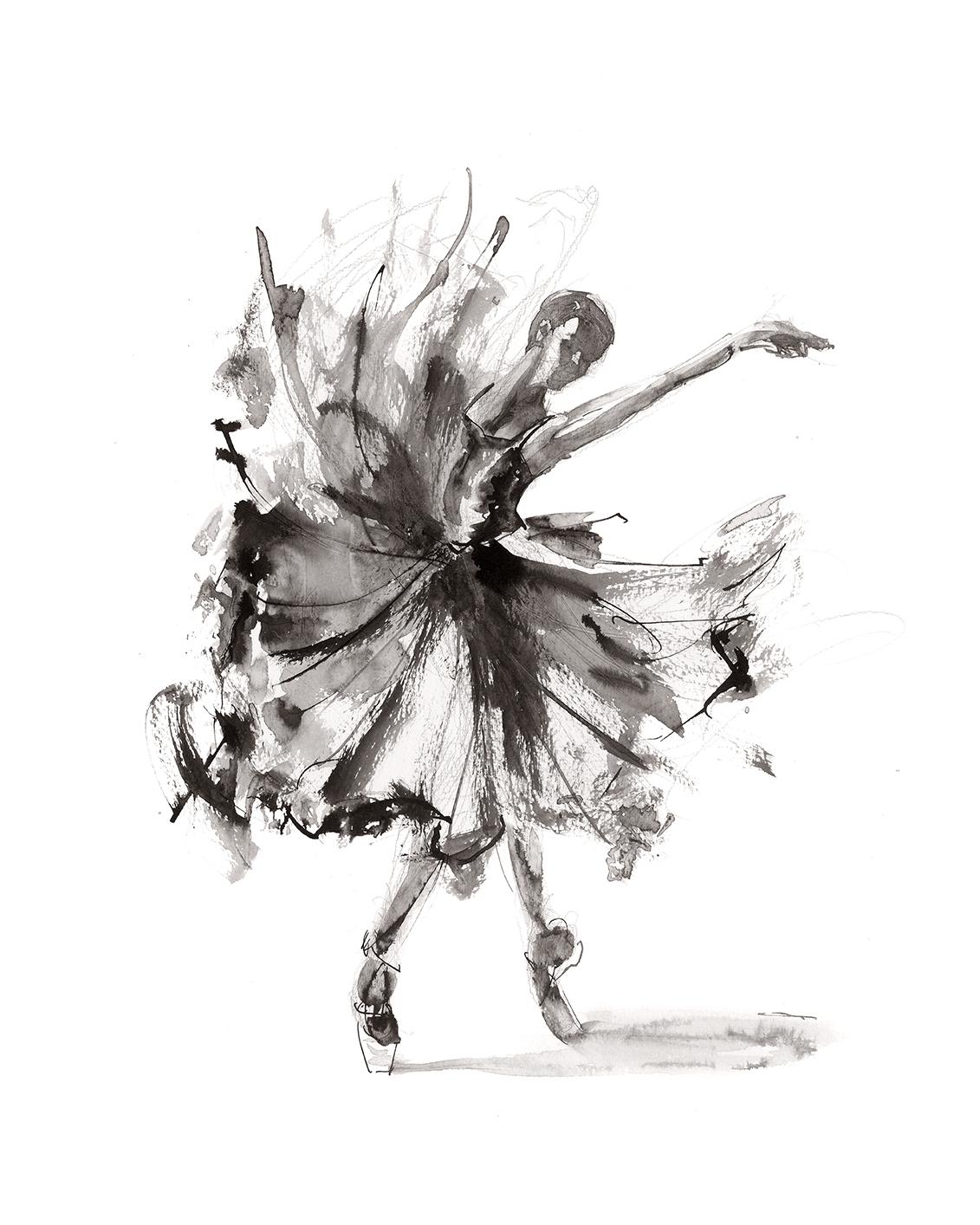 'Release'.  Fine Art Print by Artist, Dana Trijbetz.  Ballet Dancers Collection.  Original Ink Painting made as a Giclée Print on 100% Cotton Paper.  Image 2 of 3.jpg