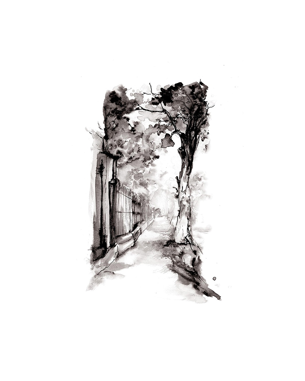 'Sidewalk'.  Fine Art Print by Artist, Dana Trijbetz.  Original Ink Painting made as a Giclée Print on 100% Cotton Paper.  Image 2 of 3.jpg