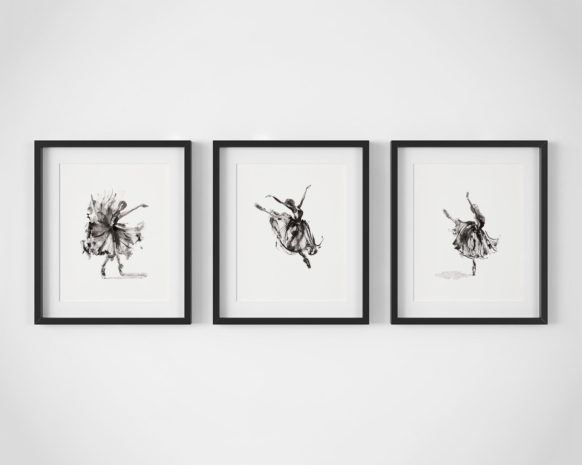 Set of 3 Ballet Dancer Fine Art Prints by Artist, Dana Trijbetz.  Original Ink Paintings made as Giclée Prints on 100% Cotton Paper.  Set Includes 'Release', 'In Flight' and 'Symphony'.jpg