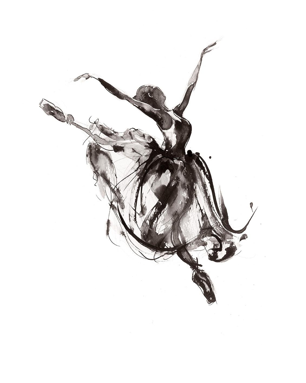 'In Flight'.  Fine Art Print by Artist, Dana Trijbetz.  Ballet Dancers Collection.  Original Ink Painting made as a Giclée Print on 100% Cotton Paper.  Image 2 of 3.jpg