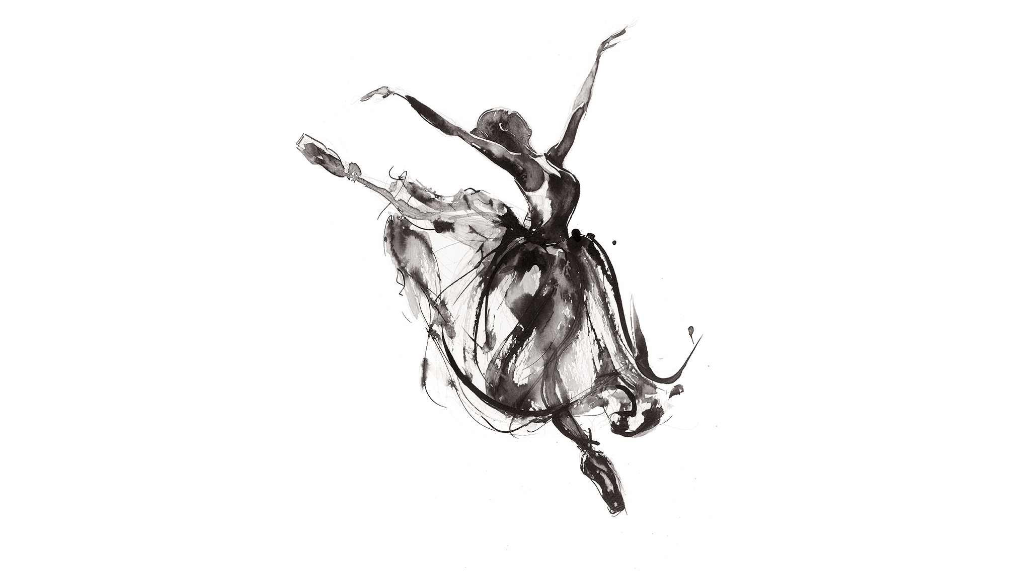 'In Flight'.  Fine Art Print by Artist, Dana Trijbetz.  Ballet Dancers Collection.  Original Ink Painting made as a Giclée Print on 100% Cotton Paper.  Image for Gallery Carousel.jpg