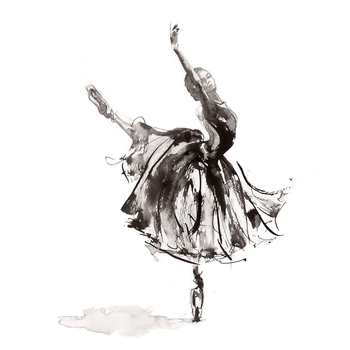 'Symphony'.  Fine Art Print by Artist, Dana Trijbetz.  Ballet Dancers Collection.  Original Ink Painting made as a Giclée Print on 100% Cotton Paper.  Image 2 of 3.jpg