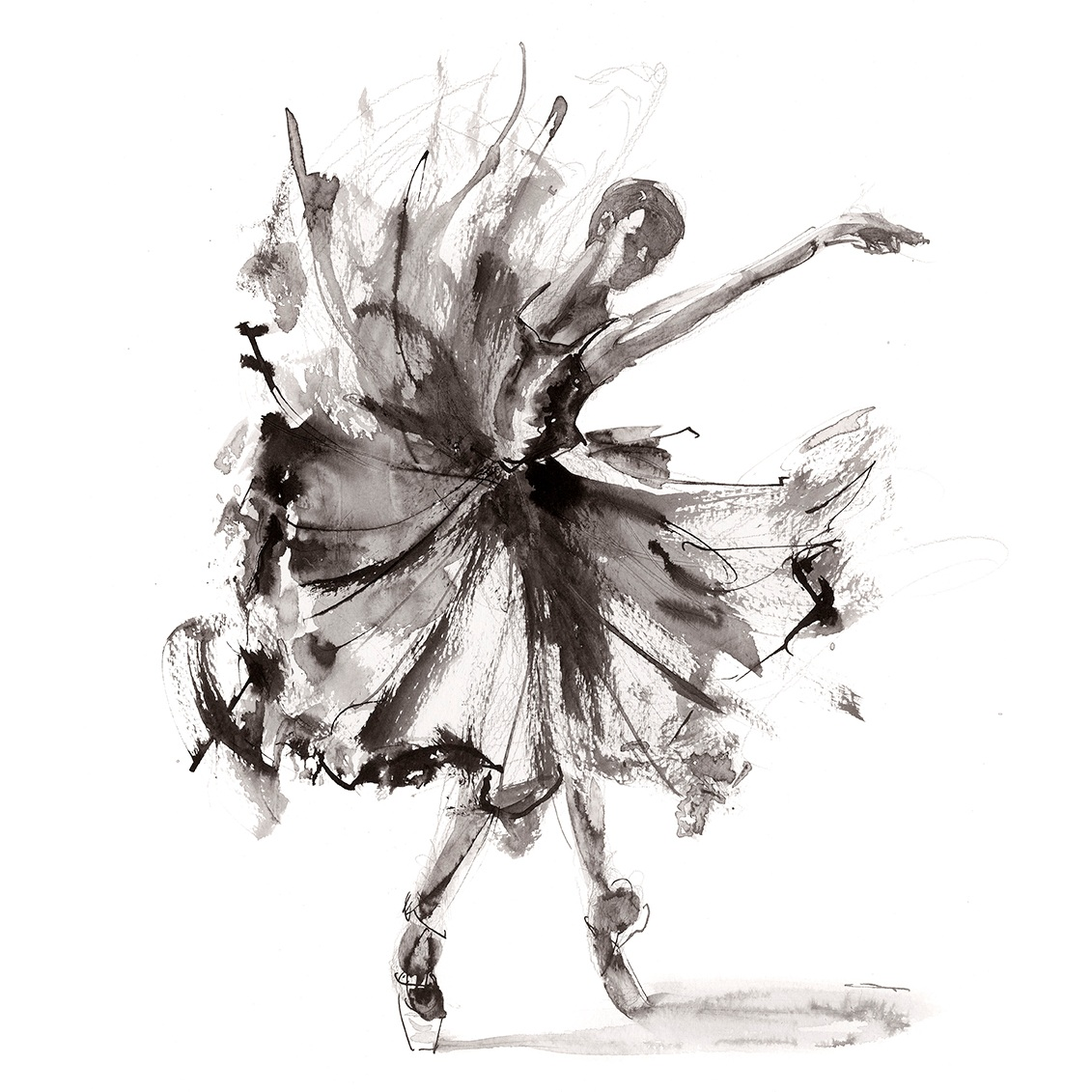 'Release'.  Fine Art Print by Artist, Dana Trijbetz.  Ballet Dancers Collection.  Original Ink Painting made as a Giclée Print on 100% Cotton Paper.  Image 2 of 3.jpg