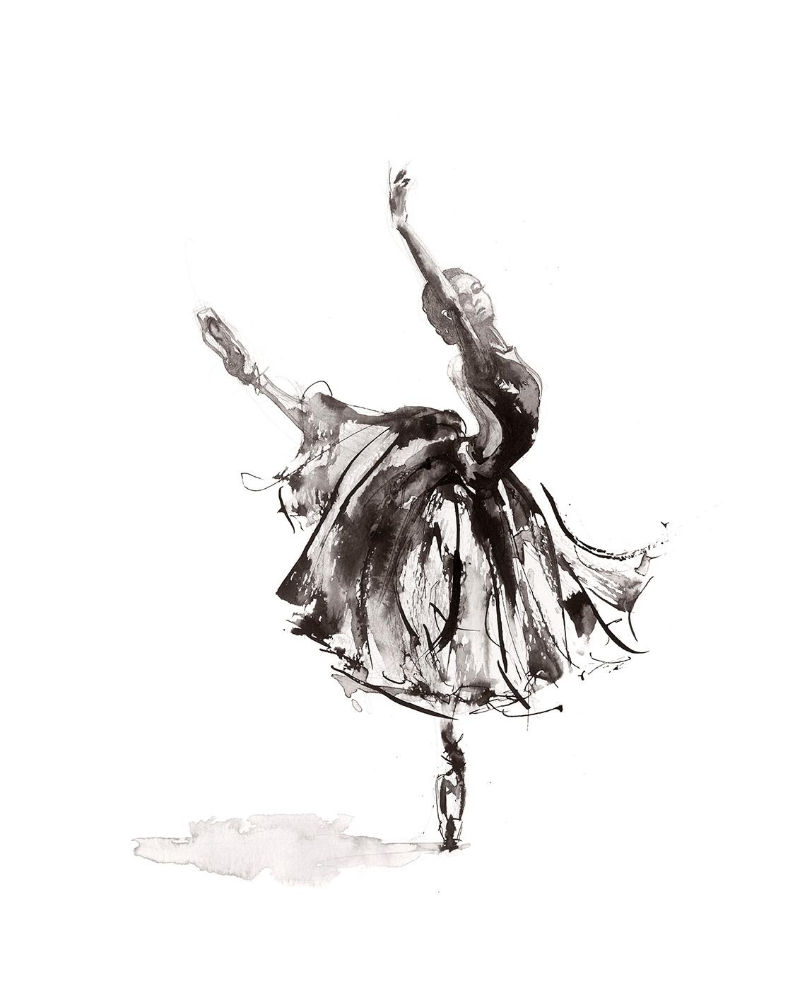 'Symphony'.  Fine Art Print by Artist, Dana Trijbetz.  Ballet Dancers Collection.  Original Ink Painting made as a Giclée Print on 100% Cotton Paper.