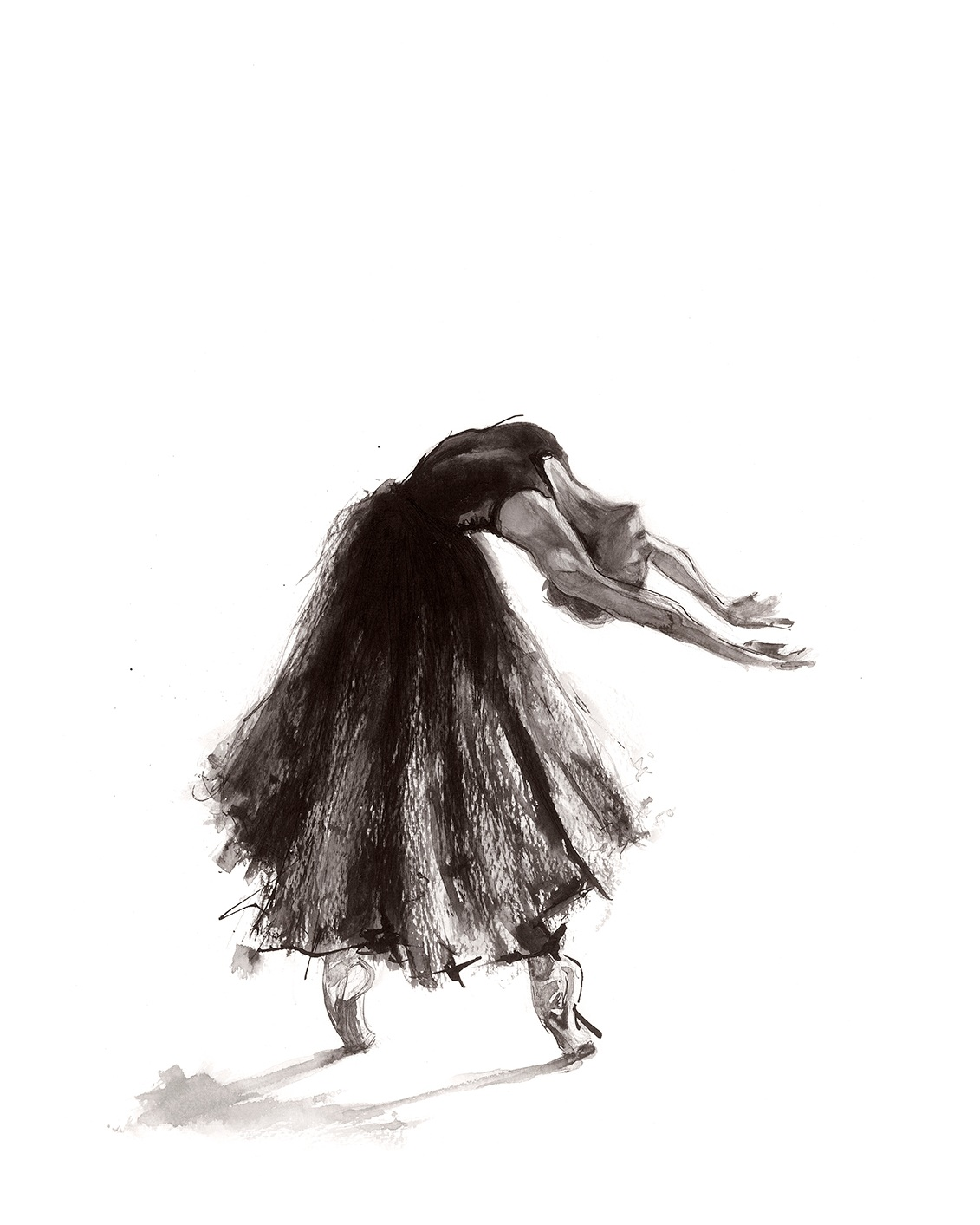 'Catharsis'.  Fine Art Print by Artist, Dana Trijbetz.  Ballet Dancers Collection.  Original Ink Painting made as a Giclée Print on 100% Cotton Paper.jpg