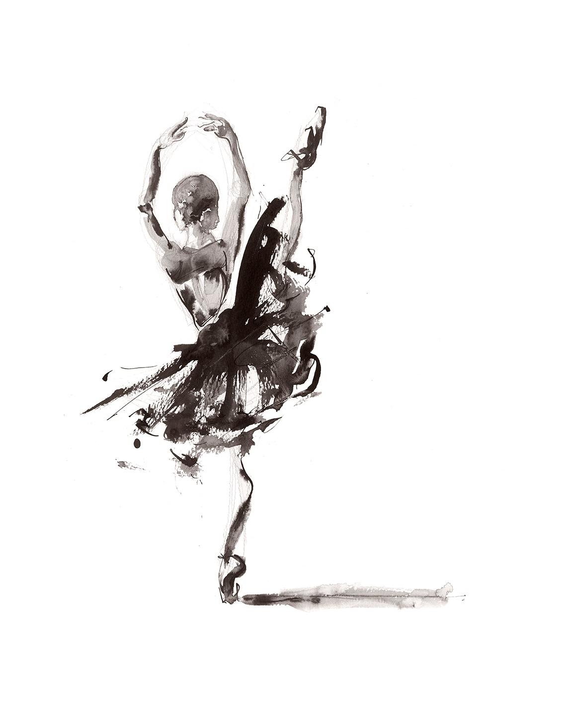 'For the Heart'.  Fine Art Print by Artist, Dana Trijbetz.  Ballet Dancers Collection.  Original Ink Painting made as a Giclée Print on 100% Cotton Paper. jpg