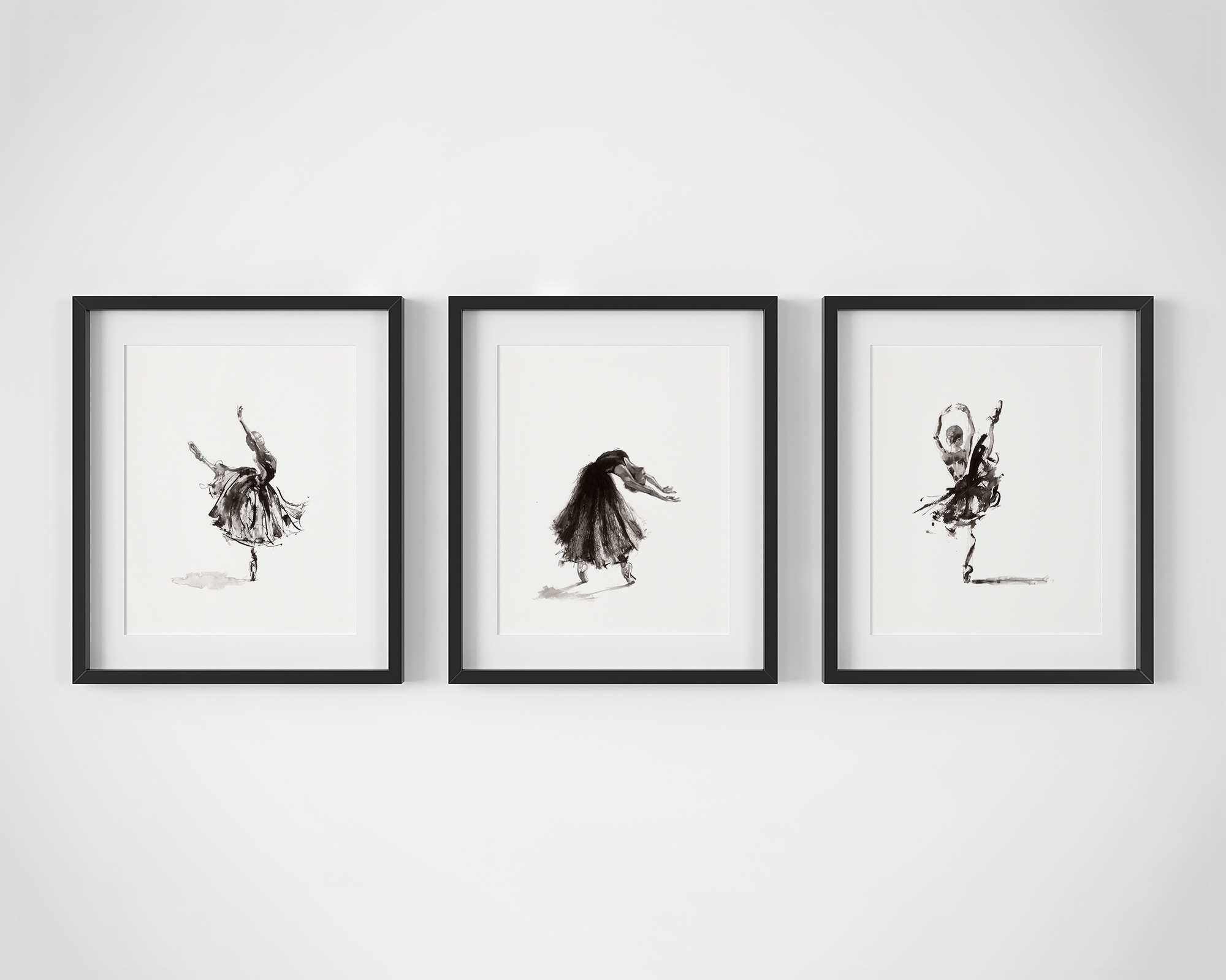 Set of 3 Ballet Dancer Fine Art Prints by Artist, Dana Trijbetz.  Original Ink Paintings made as Giclée Prints on 100% Cotton Paper.  Set Includes 'Symphony', 'Catharsis' and 'For the Heart'.jpg