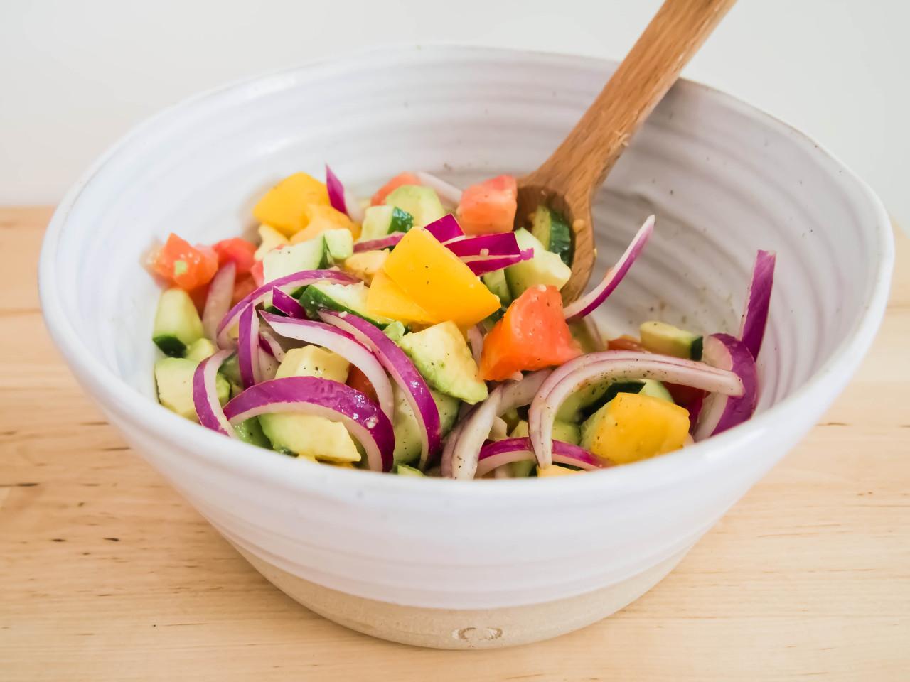 Avocado Cucumber Heirloom Salad