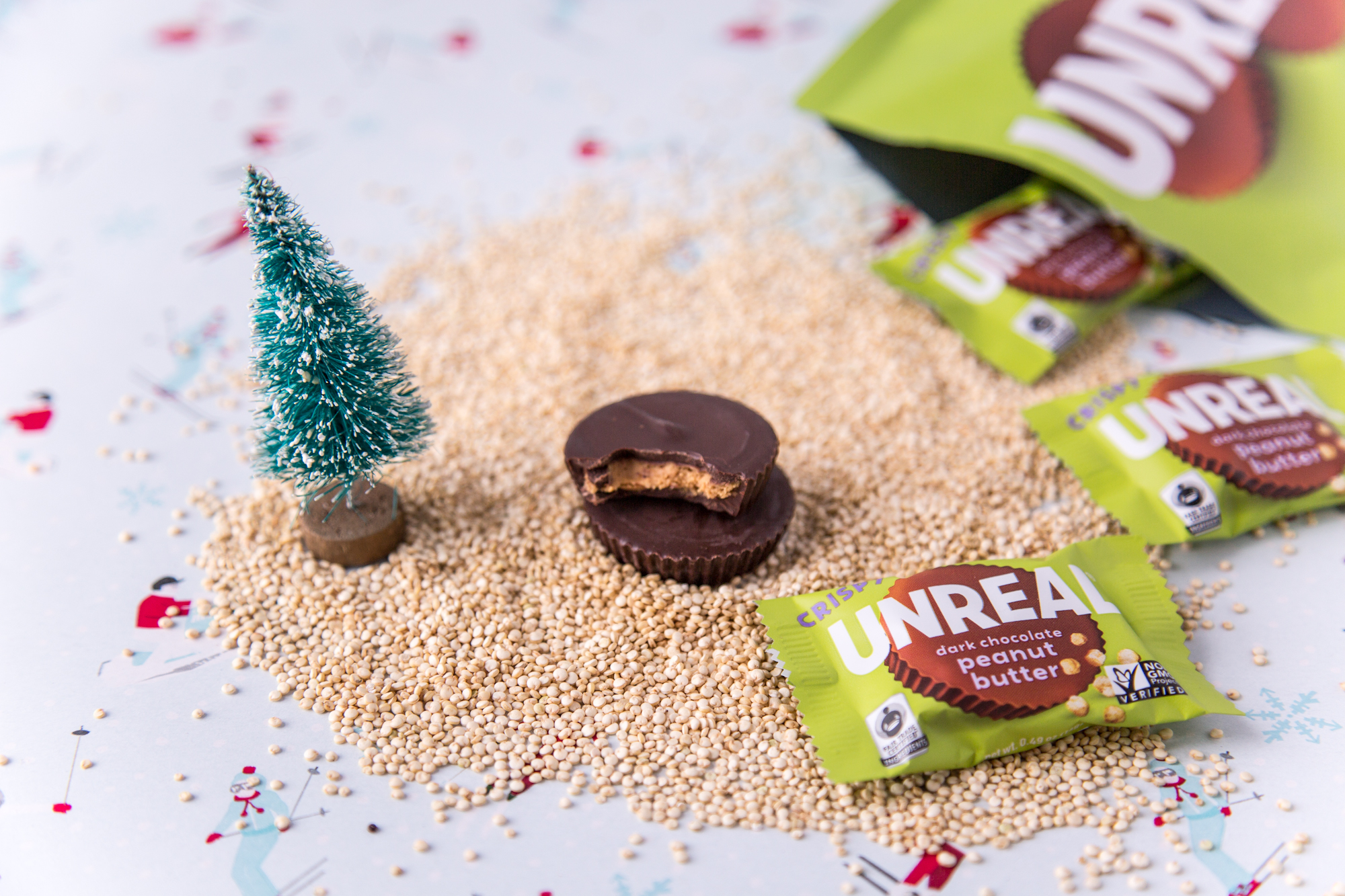 Snacking in a quinoa wonderland   Product: Unreal Crispy Quinoa Dark Chocolate Peanut Butter Cup