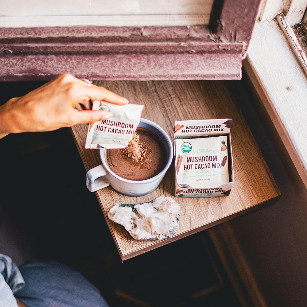 Four Sigmatic - Ok guys, I've been wanting a reason to try this stuff for a long time! Morning, or night, this blend is fabulous, combining the health benefits of reishi mushrooms with yummy cacao. Yes, it does taste similar to hot cocoa...not quite as sweet, but still delicious. This has become my go-to morning drink!Browse their website to discover all the different blends they offer! If you're just looking to lower your overall caffeine intake, they have great coffee blends, too!