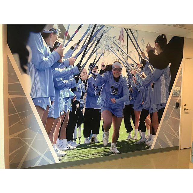 Another wall mural project complete! Super clients @hopkinslacrosse  creating motivational spaces for their athletes. Glad to be a part of the process! #wallmural #athleticsignage #vinyl #designprintinstall