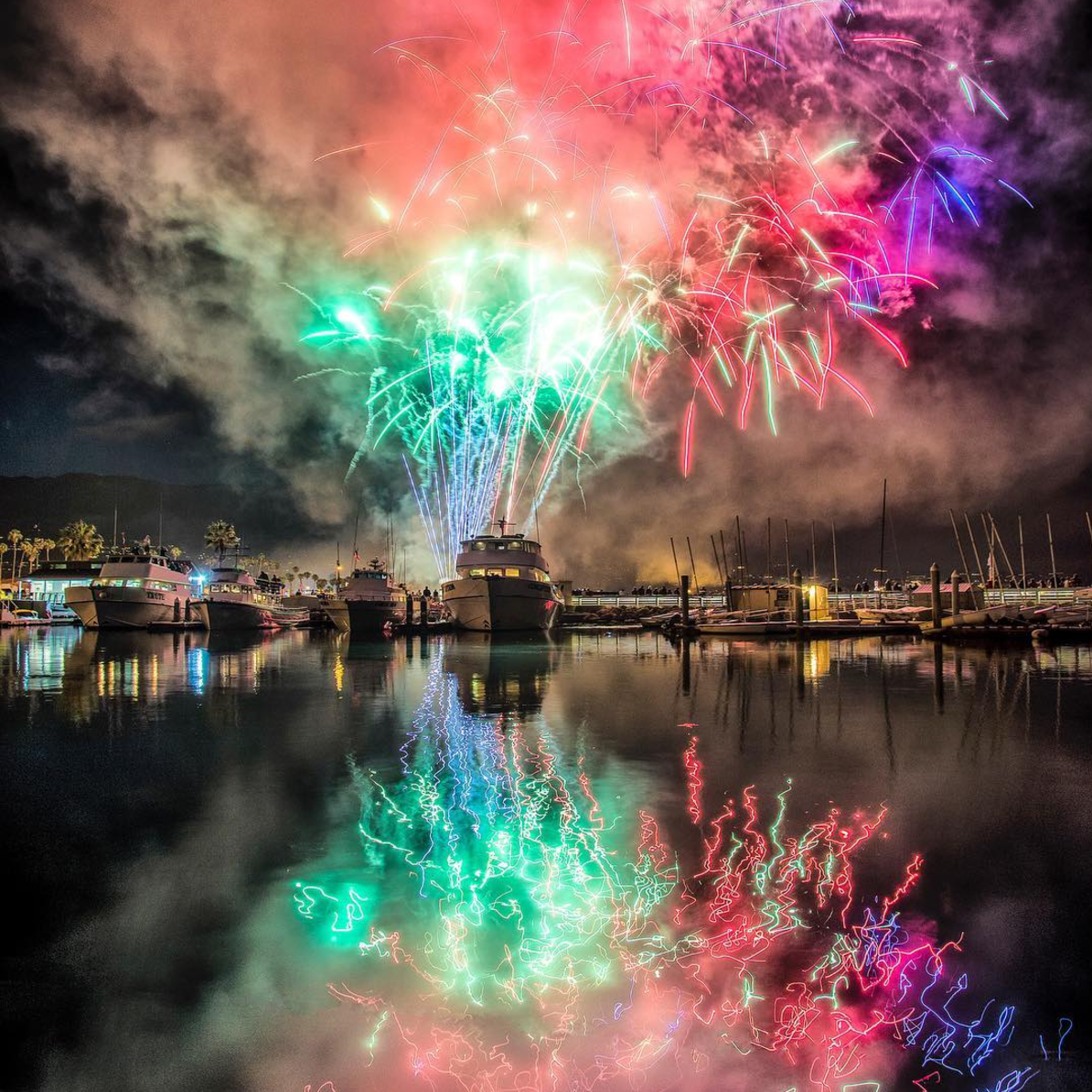 Santa Barbara Harbour displaying gorgous Fireworks Display |  Image by:  SBFourth