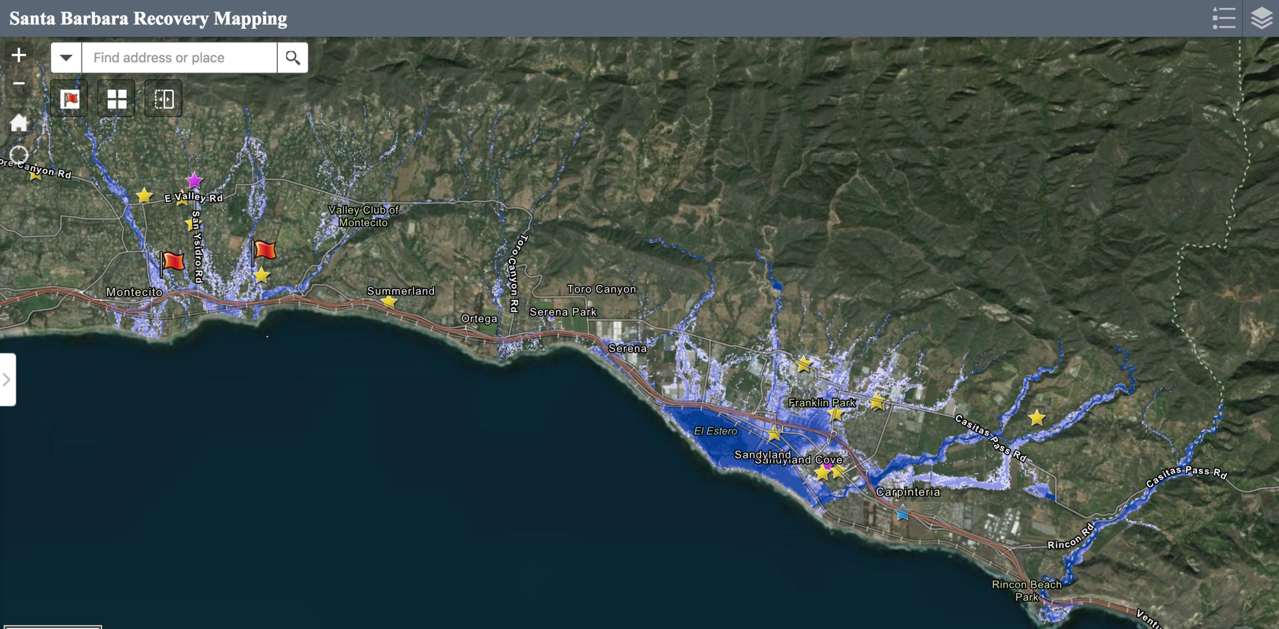 FEMA Advisory Recovery Map | Courtesy of Montecito Assocation