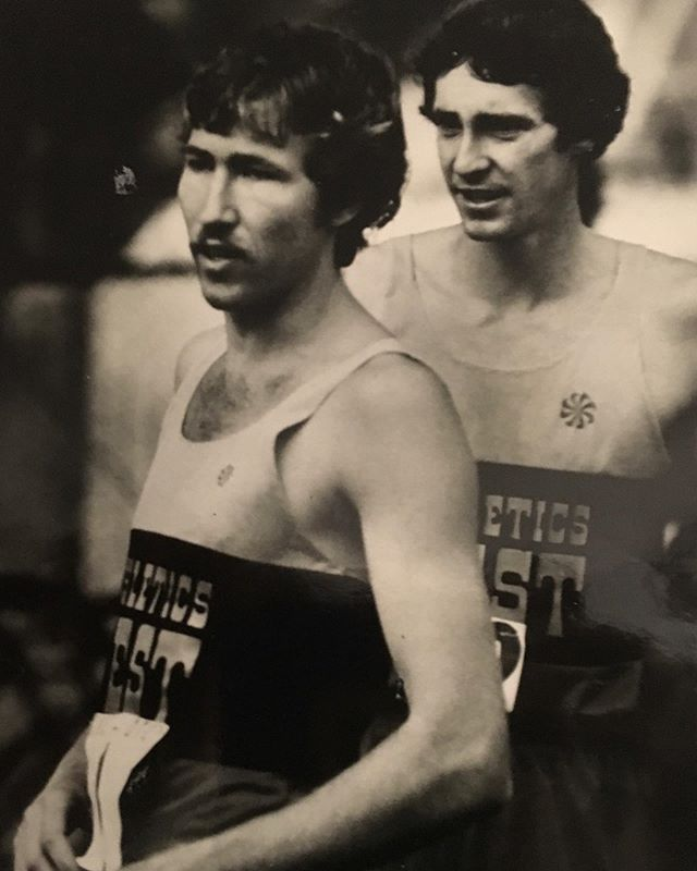 MARRIED TO RUNNING. What's it like to be married to an elite marathoner? We asked Judy Lodwick that question. She is married to John Lodwick, who ran for Nike, alongside Frank Shorter, Joan Benoit, Mary Slaney, Jeff Wells, Alberto Salazar, and other greats in the early 1980's. Judy writes: - - In January of 1983, John and his good friend, Jeff Wells, ran the Houston Marathon. I was invited, along with Jeff's wife Gayle, to be on the flatbed press truck that would drive right in front of the runners. I saw John run every step in that race…he and Jeff were right behind the truck. I remember in that race that several times they waved for the truck to speed up. They were eating the exhaust from the truck! Not something you wanted when your lungs were bursting for every bit of oxygen they could muster! I had seen John compete many times by then, but I had never observed him run a full 26.2 from start to finish. I felt a lot of emotions from that experience. Certainly, I was proud of him (he finished at the front). I also had a much greater appreciation of and understanding for what John did and who he was! I also realized that my husband was tough as nails! It boggled my mind that he could run a blistering 5 minute mile pace not for one mile, but for mile after mile - 26X's over! It actually was beautiful to watch…their focus and determination….their courage and strength. They had their game faces on! Both guys were ranked in the top 10 marathoners in the world too. - #runningisbeautiful - - Right John Lodwick, Left Jeff Wells, of Athletics West (Photo from Judy Lodwick) - - - #vanderjacket #geargarment #runbeautiful #nikerunning #eugene #eugenemarathon #runnerd #athleticswest #oregonrunning #oregonproject #coloradorunner #vintagerunning #runhard #runningmotivation #runninggoals #longrunday #runstoppable #runstrong #epicrun #runnerstyle #texasrunner #texasrunning #nikeelite #eugeneoregon #runplanet #runningshots #lifeofarunner #xtremerunnerslife #runeverydamnday