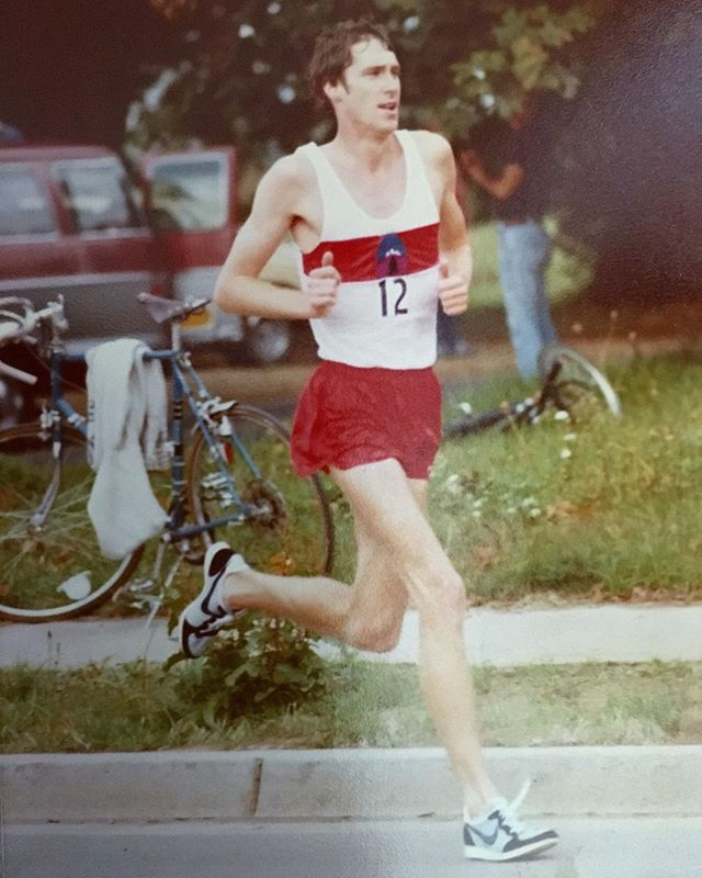 """MARRIED TO RUNNING, (PART 2) What's it like to be married to an elite marathoner? We asked Judy Lodwick that question. She is married to John Lodwick, who ran for Nike, alongside Frank Shorter, Joan Benoit, Mary Slaney, Jeff Wells, Alberto Salazar, and other greats in the early 1980's. Judy continues from yesterday's post: - - At the center core of who we are, we are soul mates, but when John and I first met, I didn't know people actually RAN marathons!I just thought it was an adjective used to describe a """"Herculean-type"""" event.I came from a family that was actually quite athletic in basketball, football, and track. I was given genes that made me tall and strong. I tried to be active and healthy, but running 26.2 miles? Now that was another story!After learning that John and his teammates actually did that, I had to understand """"why?""""! Why would you endure the discipline of running 100+ miles a week, endure bloody blisters, lose your toenails, and talk your tired achy muscles into another day of training, day after day? It certainly wasn't for money, as money awards weren't given to amateurs in those days. - - I'm sure the answer is different for everyone who runs at that level, but over the years, this is what I learned about my husband. I realized more clearly that running was certainly a part of who John was. People frequently ask me if John still runs. I always chuckle and say, """"Yes, and he will be running in heaven too!"""" I truly think he will!I'm thankful. #runningisbeautiful - - - - - #vanderjacket #geargarment #runbeautiful #nikerunning #eugene #eugenerunners #eliterunner #runningcoach #runningislife #runstrong #irunoutdoors #vintagerunning #runningmotivation #allthemiles #madetorun #marathonrunning #marathonman #runnerd #runplanet #runspiration #epicrun #runningdad #werun #runfar #monitorthebeat #coloradorunner #coloradorunning #runcolorado #runnerforlife"""