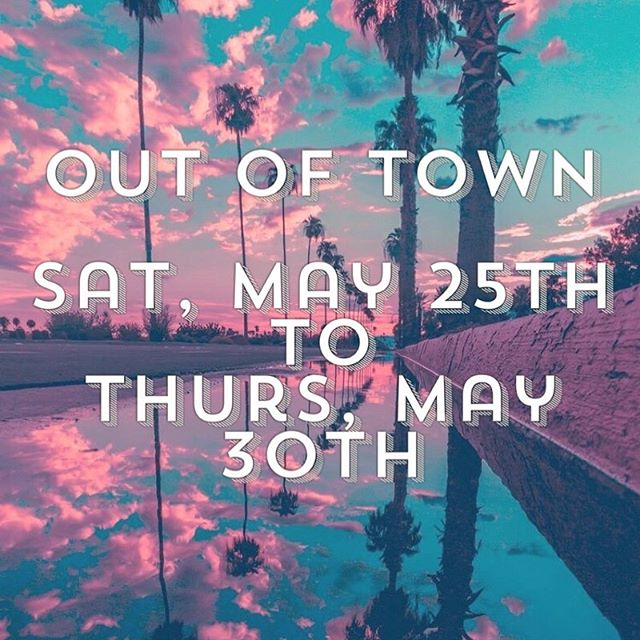 Hi guys! Just a heads up I will be out of town so I will try to get back to you asap if you reach out! Feel free to Book Online or call the salon as well. Have a good Memorial Day weekend! ☀️☀️ #outoftown #savannah #savannahgeorgia #tybeeisland #georgia #memorialdayweekend