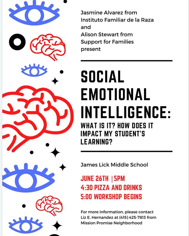This Wednesday June 26th, Jamestown is presenting a Social Emotional Intelligence workshop for parents in collaboration with @institutofamiliarsf @supportforfamilies and #medasf . Come learn how this can impact your student's life and how they learn. Everyone is welcome to attend, we look forward to seeing you there. . . . . . #missiondistrict #sanfrancisco #emotionalintelligence #familyworkshop #latinoeducation #phoenixbeacons