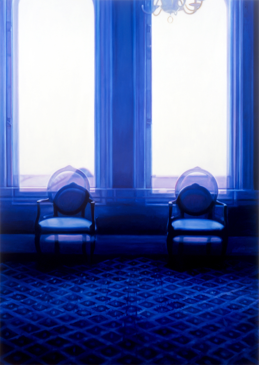 """Double Vision Chairs    Oil on panel  58 1/2"""" x 41 1/2""""  2005"""