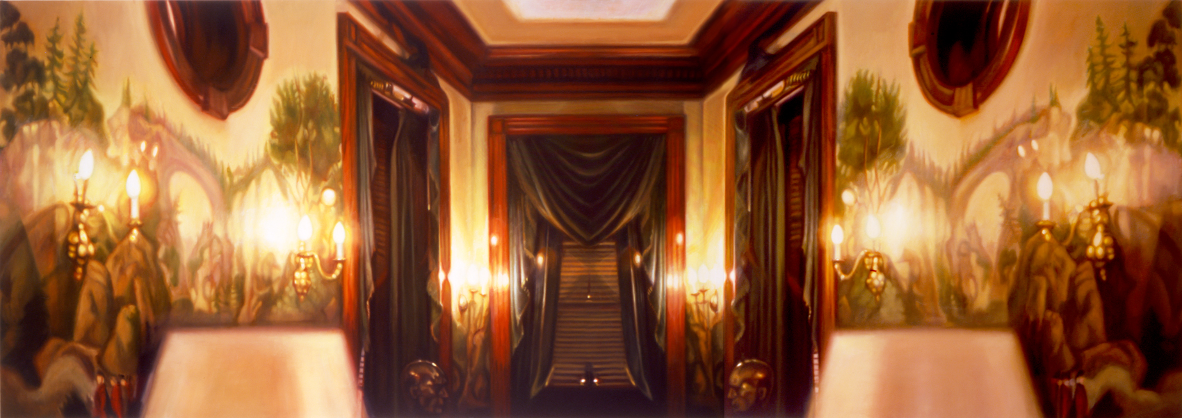 "Westwing Interior I    Oil on panel  28"" x 79 1/2""  2005"