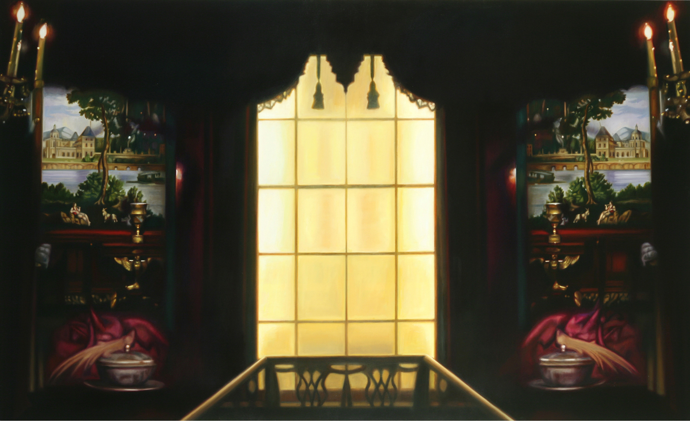 "Top of the Stairs    Oil on canvas  55"" x 90""  2010"