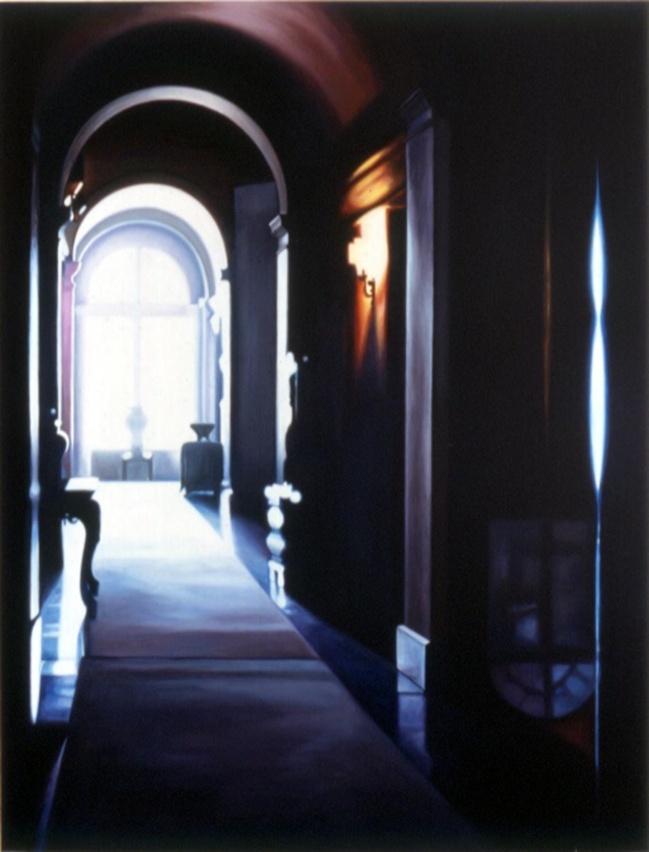 """Blue Hallway    Oil on panel  42"""" x 32""""  2001"""